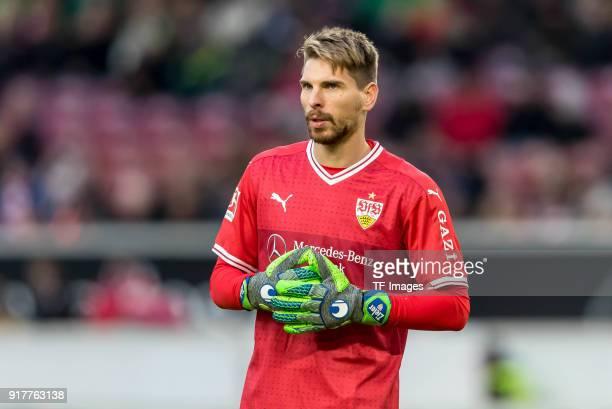 Goalkeeper RonRobert Zieler of Stuttgart looks on during the Bundesliga match between VfB Stuttgart and Borussia Moenchengladbach at MercedesBenz...