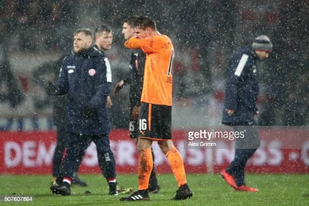 Goalkeeper RonRobert Zieler of Stuttgart reacts after the Bundesliga match between 1 FSV Mainz 05 and VfB Stuttgart at Opel Arena on January 20 2018...