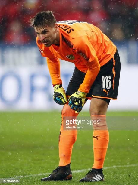 Goalkeeper RonRobert Zieler of Stuttgart reacts during the Bundesliga match between 1 FSV Mainz 05 and VfB Stuttgart at Opel Arena on January 20 2018...