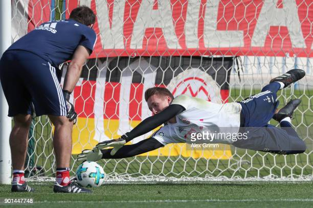Goalkeeper RonThorben Hoffmann attends a training session with goalkeeper coach Toni Tapalovic on day 4 of the FC Bayern Muenchen training camp at...