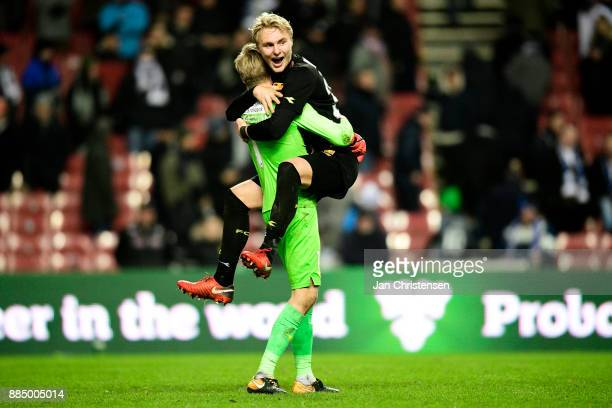 Goalkeeper Runar Alex Runarsson of FC Nordsjalland and Victor Nelsson of FC Nordsjalland celebrate after the Danish Alka Superliga match between FC...