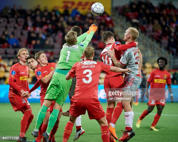 Goalkeeper Runar Alex Runarsson of FC Nordsjalland in action during the Danish Alka Superliga match between FC Nordsjalland and AaB Aalborg at Right...