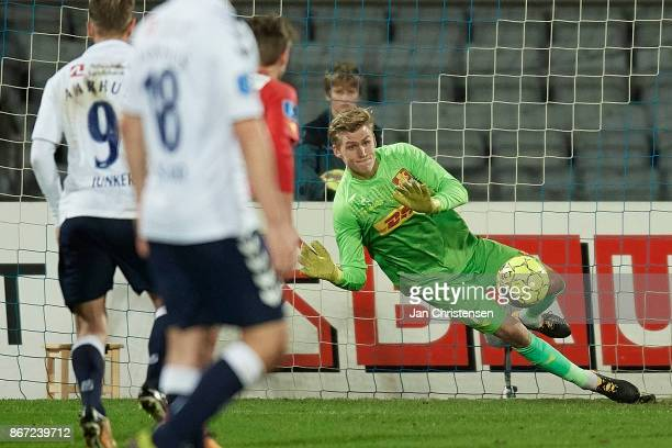 Goalkeeper Runar Alex Runarsson of FC Nordsjalland save a penalty kick during the Danish Alka Superliga match between AGF Arhus and FC Nordsjalland...