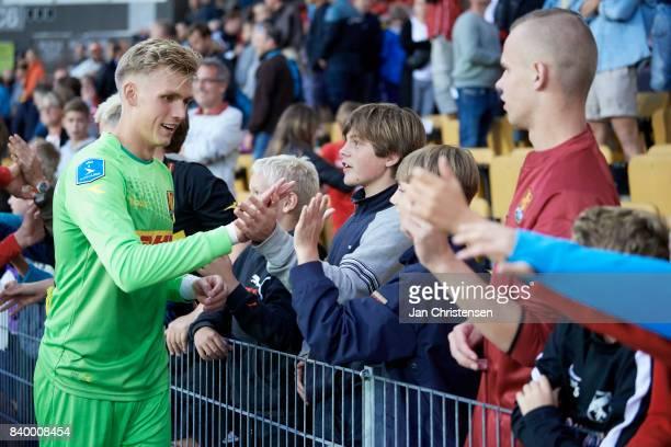 Goalkeeper Runar Alex Runarsson of FC Nordsjalland shake hands with fans after the Danish Alka Superliga match between FC Nordsjalland and FC...