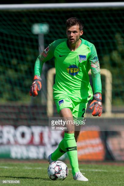 Goalkeeper Rune Jarstein of Hertha BSC controls the ball during the TEDiCup match between Hertha BSC and MSV Duisburg on July 8 2018 in Herne Germany