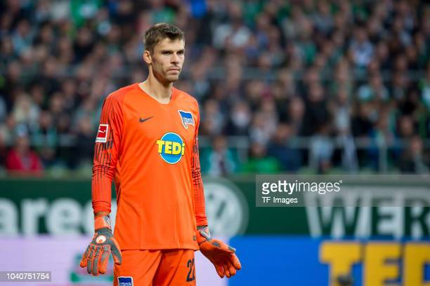 Goalkeeper Rune Jarstein of Hertha BSC looks on during the Bundesliga match between SV Werder Bremen and Hertha BSC at Weserstadion on September 25...