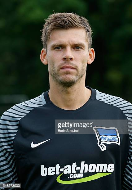 Goalkeeper Rune Jarstein of Hertha BSC poses during the Hertha BSC Team Presentation on July 12 2016 in Berlin Germany