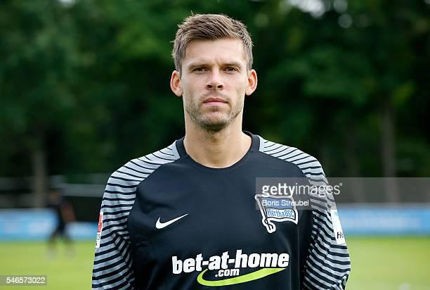 Goalkeeper Rune Jarstein of Hertha BSC poses during the Hertha BSC Team Presentation on July 12 2016 in Berlin Germany