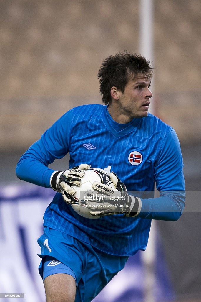 Goalkeeper Rune Jarstein of Norway stops the ball during the international friendly football match between Norway and Ukraine at Estadio Olimpico de Sevilla on February 6, 2013 in Seville, Spain.