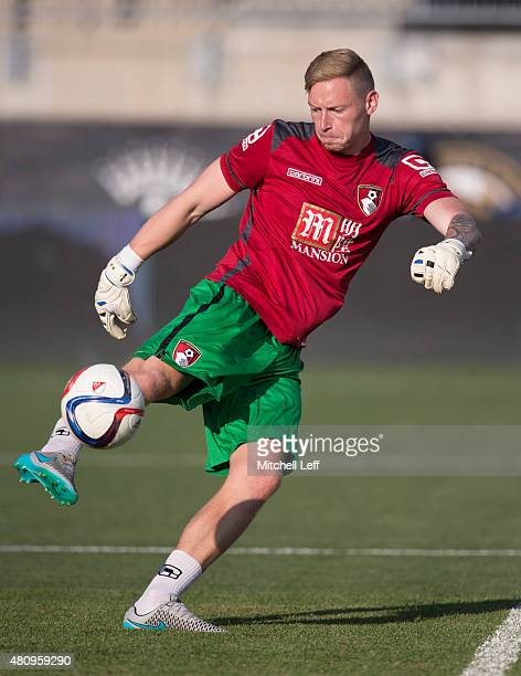 Goalkeeper Ryan Allsop of AFC Bournemouth warms up prior to the friendly match against the Philadelphia Union on July 14 2015 at the PPL Park in...