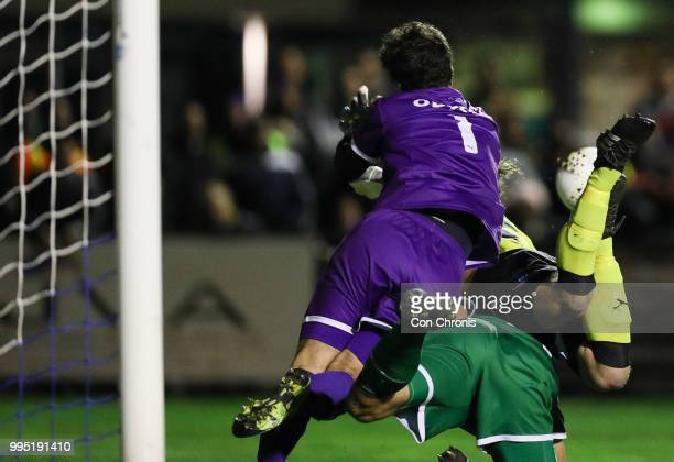 Goalkeeper Ryan Scott of Bentleigh Greens dives for the ball during the NPL Dockerty Cup match between Heidelberg United and Bentleigh Greens at Jack...