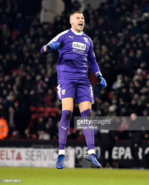 Goalkeeper Sam Johnstone of West Bromwich Albion celebrates a goal during the Sky Bet Championship match between Sheffield United and West Bromwich...