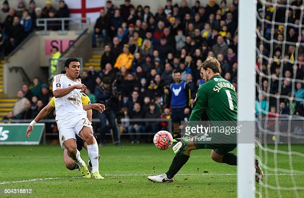 Goalkeeper Sam Slocombe of Oxford United saves the shot from Jefferson Montero of Swansea City during The Emirates FA Cup third round match between...
