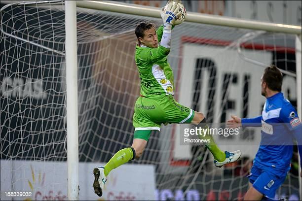 Goalkeeper Sammy Bossut of Zulte-Waregem in action during the Cofidis Cup 1/4 final away match between SV Zulte Waregem and KRC Genk in the Regenboog...