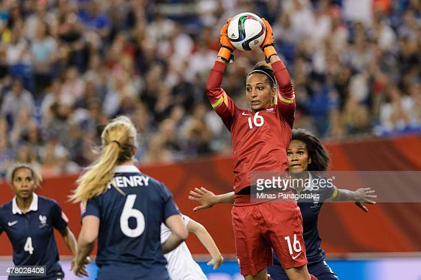 Goalkeeper Sarah Bouhaddi of France jumps for the ball during the 2015 FIFA Women's World Cup Round of 16 match against Korea Republic at Olympic...