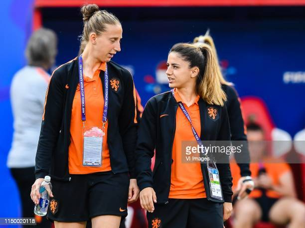 goalkeeper Sari van Veenendaal of Netherlands women Danielle van de Donk of Netherlands women explore stade Hainaut Valenciennes during a training...