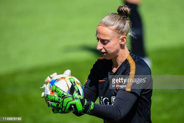 goalkeeper Sari van Veenendaal of Netherlands women during a training session prior to the FIFA Women's World Cup France 2019 group E match between...