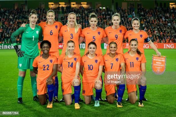 Goalkeeper Sari van Veenendaal of the Netherlands Anouk Dekker of the Netherlands Stefanie van der Gragt of the Netherlands Dominique Janssen of the...