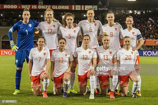 Goalkeeper Sari van Veenendaal of the Netherlands Kelly Zeeman of the Netherlands Dominique Janssen of the Netherlands Anouk Dekker of the...