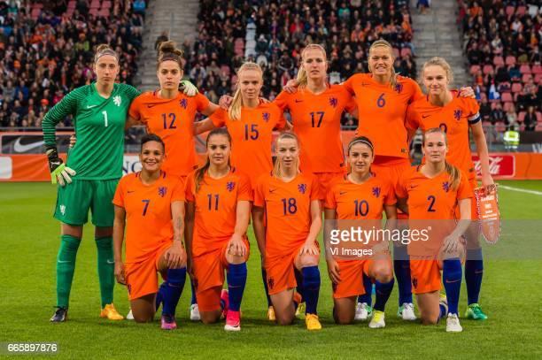 Goalkeeper Sari van Veenendaal of the Netherlands, Tessel Middag of The Netherlands, Kika van Es of the Netherlands, Kelly Zeeman of the Netherlands,...