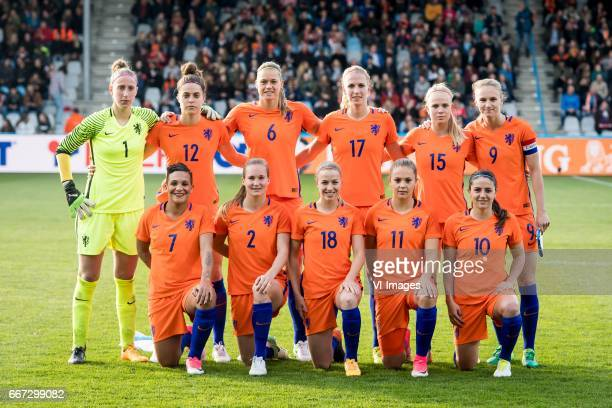 Goalkeeper Sari van Veenendaal of the Netherlands, Tessel Middag of The Netherlands, Anouk Dekker of the Netherlands, Kelly Zeeman of the...