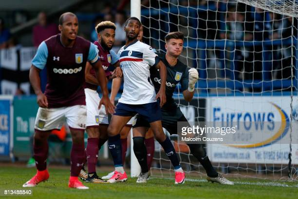 Goalkeeper Sarkic Matija and defender Jordan Amavi of Aston Villa defend a corner during the PreSeason Friendly between AFC Telford United and Aston...
