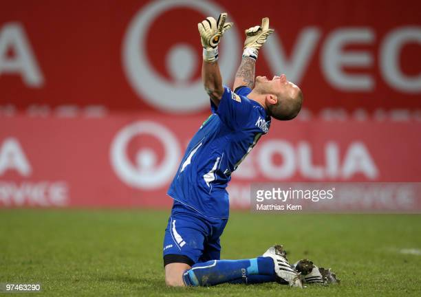Goalkeeper Sascha Kirschstein of Ahlen jubilates after winning the Second Bundesliga match between FC Hansa Rostock and RotWeiss Ahlen at the DKB...