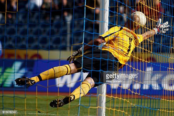 Goalkeeper Sascha Kirschstein of Ahlen lets in his team's first goal during the Second Bundesliga match between TuS Koblenz and RotWeiss Ahlen at the...