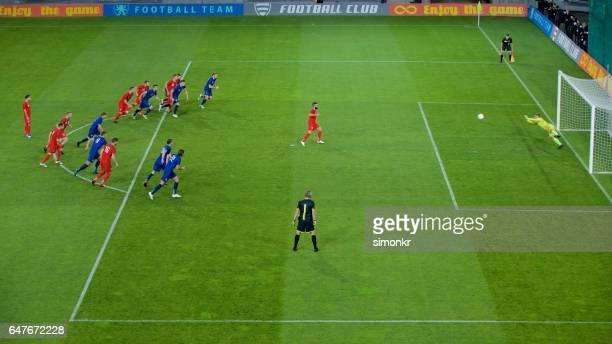 goalkeeper saving a penalty shot - tirare in rete foto e immagini stock