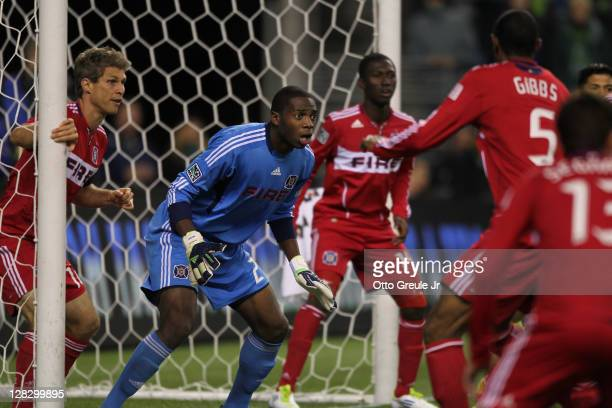 Goalkeeper Sean Johnson of the Chicago Fire defends against the Seattle Sounders FC in the 2011 Lamar Hunt US Open Cup Final at CenturyLink Field on...