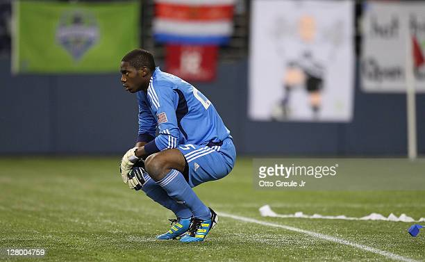 Goalkeeper Sean Johnson of the Chicago Fire looks on after Osvaldo Alonso of the Seattle Sounders FC scored the second goal in the 2011 Lamar Hunt US...