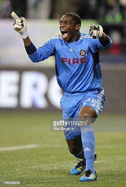 Goalkeeper Sean Johnson of the Chicago Fire yells instruction against the Seattle Sounders FC in the 2011 Lamar Hunt US Open Cup Final at CenturyLink...