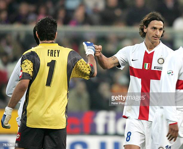 Goalkeeper Sebastian Frey of Fiorentina and Zlatan Ibrahimovic of Inter Milan touch during the Italian serie A football match between Fiorentina and...