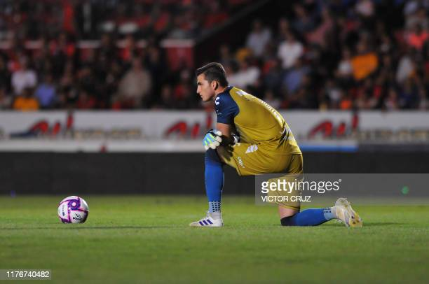 Goalkeeper Sebastian Jurado of Veracruz looks on during the Mexican Apertura 2019 tournament football match against Tigres at Luis Pirata Fuente...