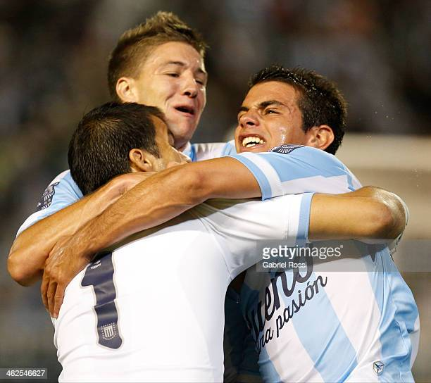 Goalkeeper Sebastian Saja of Racing Club celebrates after scoring the second goal of his team with a penalty kick during a match between Racing Club...