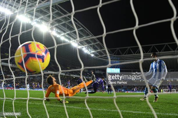 Goalkeeper Sergio Alvarez of Celta Vigo fails to stop David Zurutuza of Real Sociedad from scoring his teams second goal during the La Liga match...
