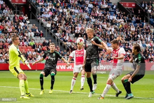 goalkeeper Sergio Padt of FC Groningen Django Warmerdam of FC Groningen Justin Kluivert of Ajax Kasper Larsen of FC Groningen Klaas Jan Huntelaar of...