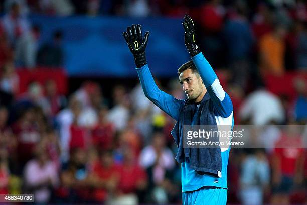 Goalkeeper Sergio Rico of Sevilla FC celebrates their victory after the UEFA Champions League Group D match between Sevilla FC and VfL Borussia...