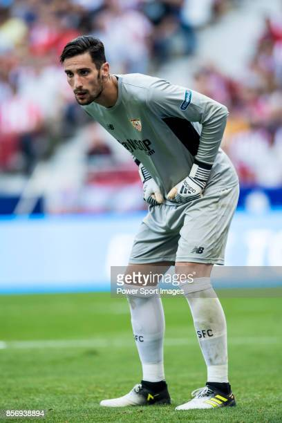 Goalkeeper Sergio Rico of Sevilla FC in action during the La Liga 201718 match between Atletico de Madrid and Sevilla FC at the Wanda Metropolitano...