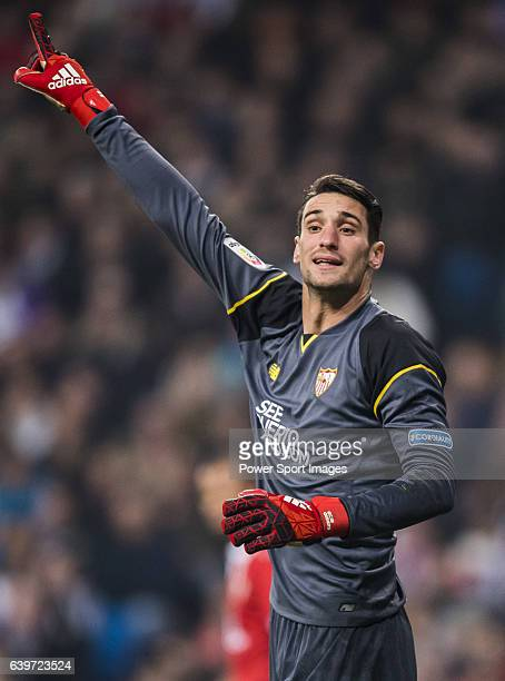 Goalkeeper Sergio Rico of Sevilla FC reacts during their Copa del Rey Round of 16 match between Real Madrid and Sevilla FC at the Santiago Bernabeu...