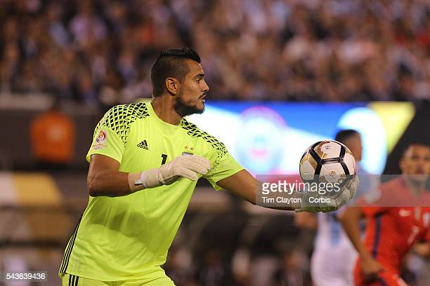 Goalkeeper Sergio Romero of Argentina during the Argentina Vs Chile Final match of the Copa America Centenario USA 2016 Tournament at MetLife Stadium...
