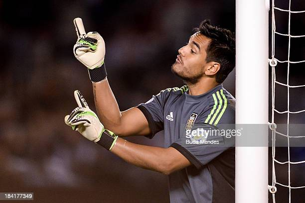 Goalkeeper Sergio Romero of Argentina in action during a match between Argentina and Peru as part of the 17th round of the South American Qualifiers...