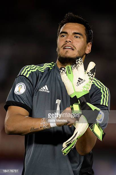 Goalkeeper Sergio Romero of Argentina looks on before a match between Argentina and Peru as part of the 17th round of the South American Qualifiers...