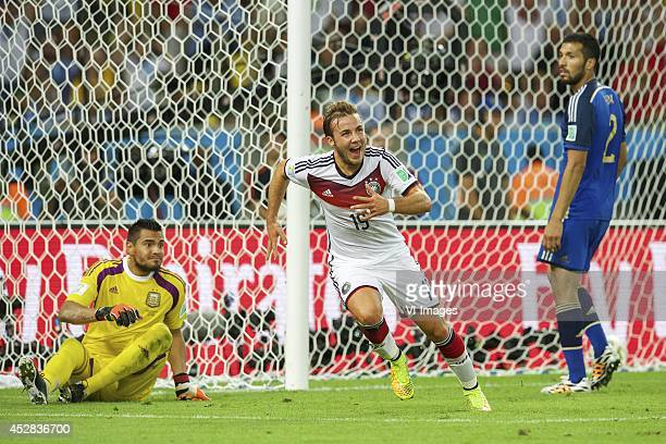 Goalkeeper Sergio Romero of Argentina, Mario Gotze of Germany, Ezequiel Garay of Argentina, during the final of the FIFA World Cup 2014 on July 13,...