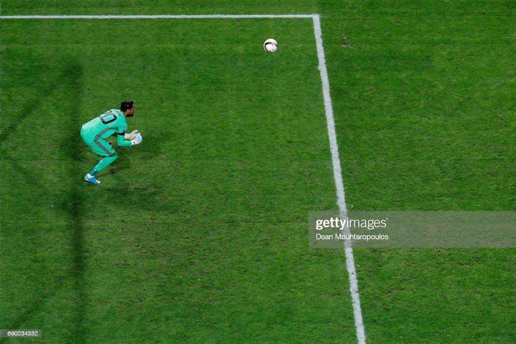 Goalkeeper, Sergio Romero of Manchester United makes a save during the UEFA Europa League Final between Ajax and Manchester United at Friends Arena on May 24, 2017 in Stockholm, Sweden.