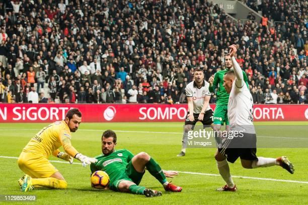 goalkeeper Serkan Kirintili of Atiker Konyaspor Ugur Demirok of Atiker Konyaspor Adriano Correia Claro of Besiktas JK during the Turkish Spor Toto...