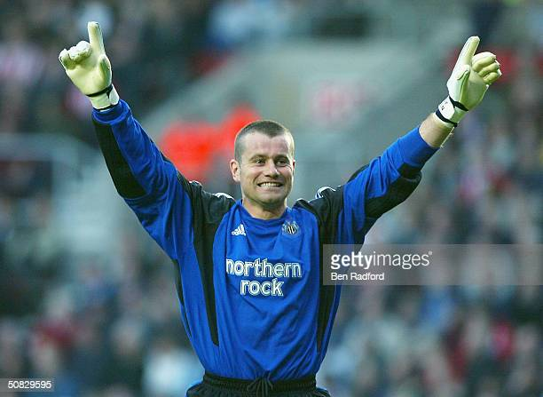 Goalkeeper Shay Given of Newcastle United celebrates Shola Ameobi scoring their first goal during the FA Barclaycard Premiership match between...