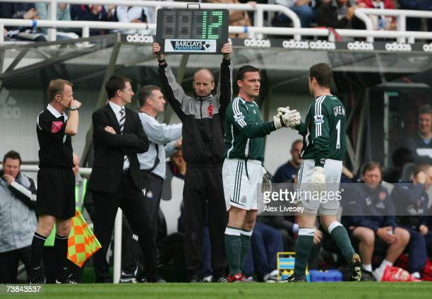 Goalkeeper Shay Given of Newcastle United is substituted for team mate Steve Harper after injuring himself during the Barclays Premiership match...