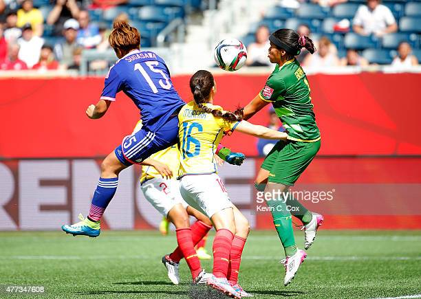 Goalkeeper Shirley Berruz of Ecuador fails to save this pass against Yuika Sugasawa of Japan during the FIFA Women's World Cup Canada 2015 Group C...