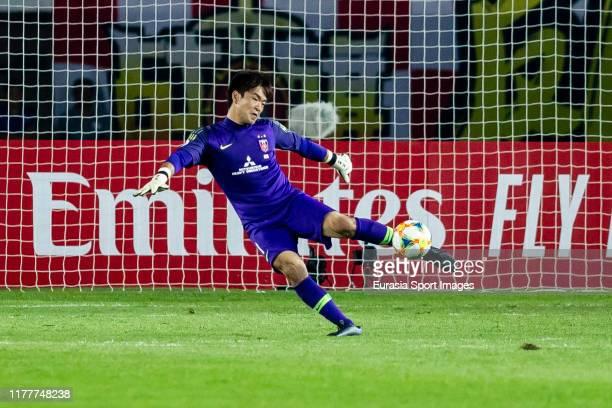 Goalkeeper Shusaku Nishikawa of Urawa Red Diamonds in action during the AFC Champions League Semi Final second leg match between Guangzhou Evergrande...